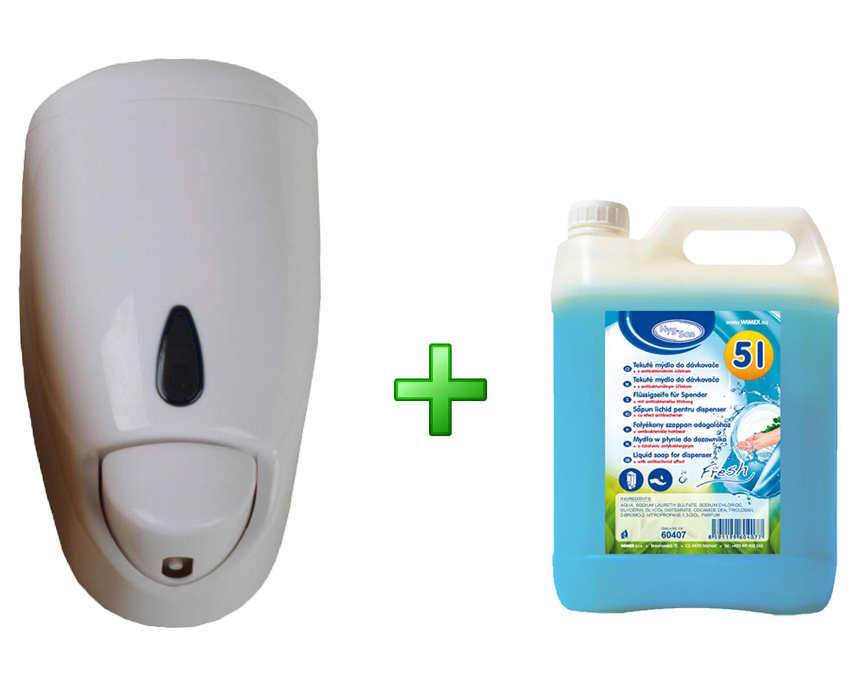 Seifenspender  500 ml weiß mit 5 Liter Flüssigseife antibakterielle Wirkung