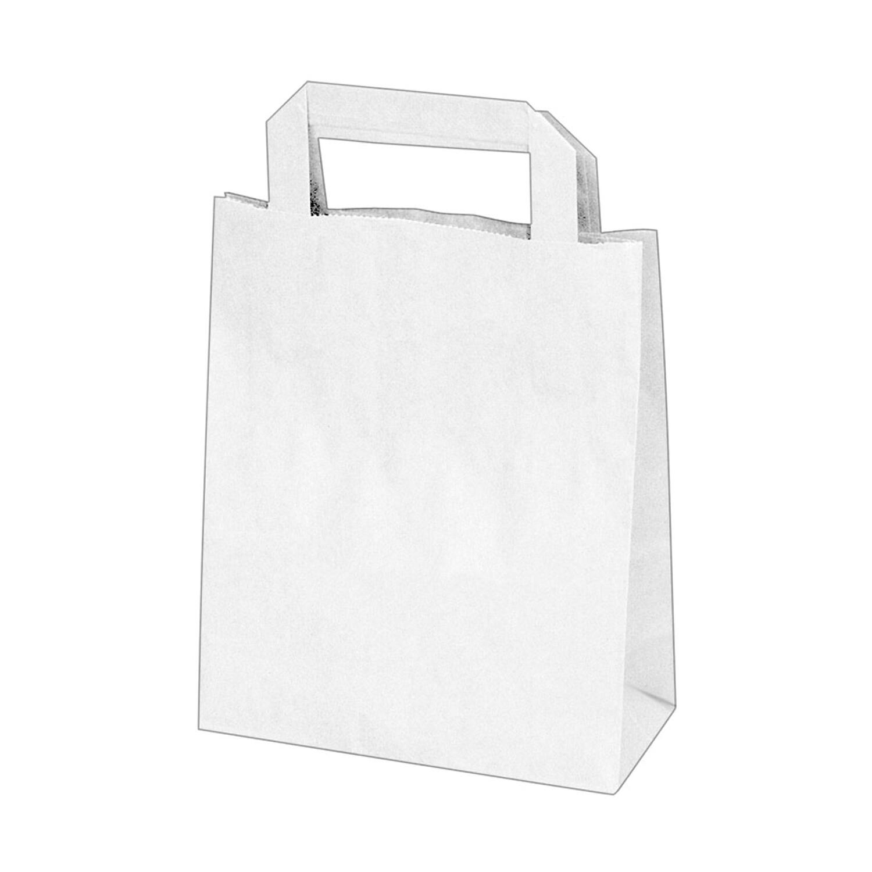 GASTRO Papiertragetaschen 22 x 18 x  8 cm mit EAN-Code weiß, 250 Stk.