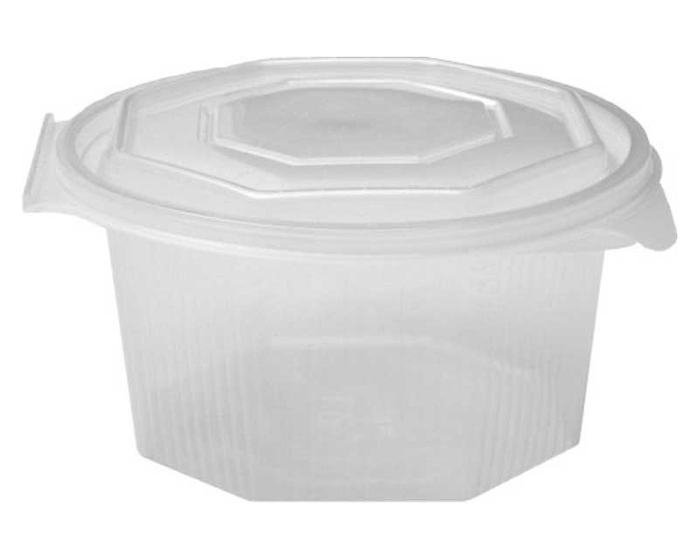 Achteckbecher klar mit angehängtem Deckel 1000 ml (PP), 50 Stk.