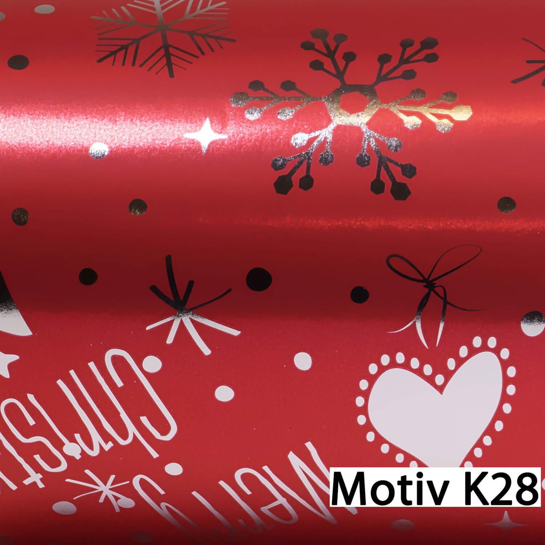Weihnachtsgeschenkpapier Weihnachtspapier  30 cm x 150 m | Motiv K28