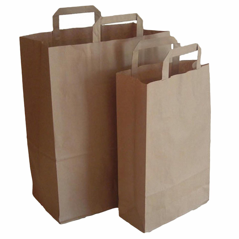 1-PACK Papiertragetaschen aus Kraftpapier, 270+150x270mm, braun 80 gr.