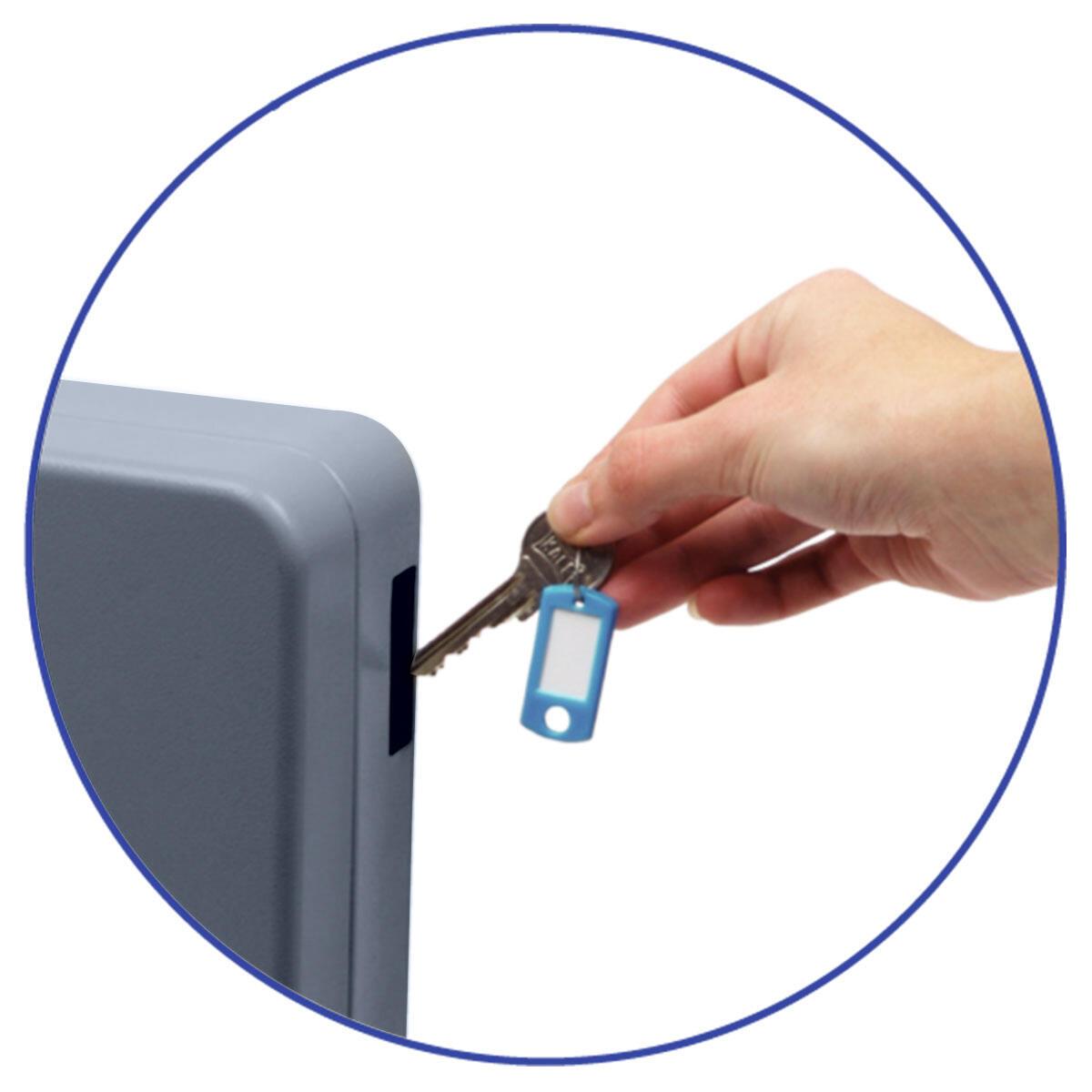 Schlüsselkasten für  54 Schlüssel inkl. Anhänger und seitl. Einwurfschlitz, grau
