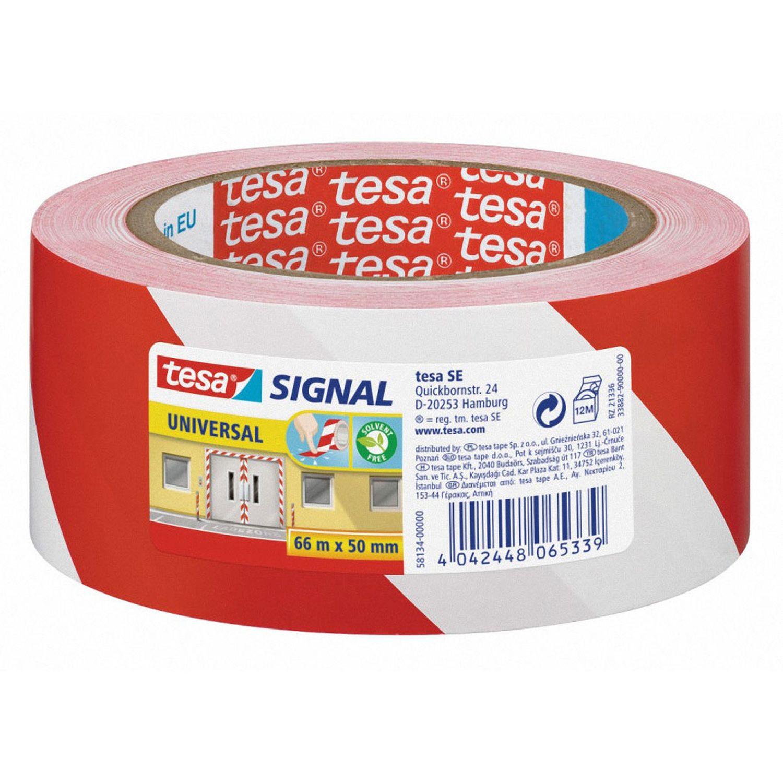 TESA Signalband Markierungsband Warnklebeband rot / weiß 58134, 50mm x 66 Meter