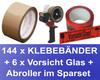 144x Packband Klebeband 50mmx66m, LowNoise braun + 6x Vorsicht Glas + Abroller